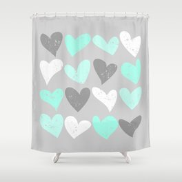 mint and grey shower curtain. Mint white grey grunge hearts Shower Curtain Custom Curtains  Society6