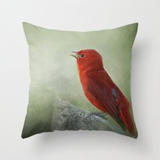 Song of the Summer Tanager 3 - Birds Throw Pillow