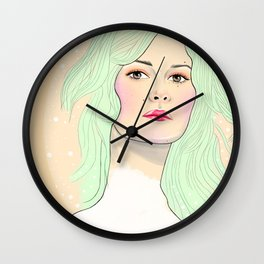 Green Hair Girl Wall Clock