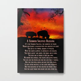 Native American Inspired Buffalo Summer Solstice Blessings Metal Print