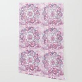 Dreams Mandala in Pink, Grey, Purple and White Wallpaper