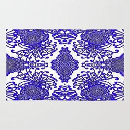 Vintage Blue-Purple  White Floral Spider Mums Art Rug