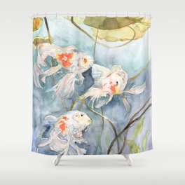 Koi Fish Painting, Underwater Water Lily Shower Curtain