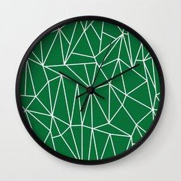 Geometric Cobweb (White & Olive Pattern) Wall Clock