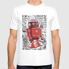Robot Flux MEDIUM White Mens Fitted Tee