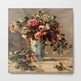 Pierre-Auguste Renoir's Roses and Jasmine in a Delft Vase Metal Print