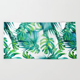 Blue Jungle Leaves, Monstera, Palm #society6 Beach Towel