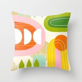 Rise and Shine - Retro Mod Abstract Design Throw Pillow