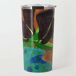 Black Calla Lilies in Blue Vase Travel Mug