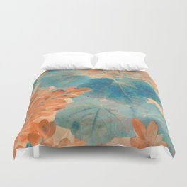 Blue and Orange Autumn Leaves Duvet Cover