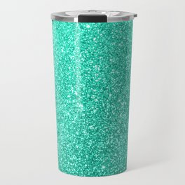 Aquamarine Aqua Blue Sparkly Glitter Travel Mug