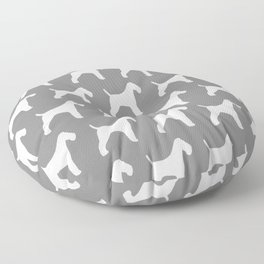 White Wire Fox Terrier Silhouette(s) Floor Pillow