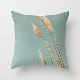 Beach Grass Blues Throw Pillow