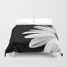 Half Daisy in Black and White Duvet Cover