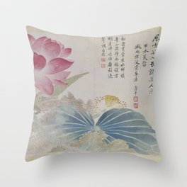Vintage Chinese Ink and Brush Painting and Calligraphy Throw Pillow