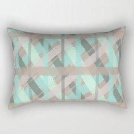 Turquoise and Grey Plaid Distressed Chalk Digital Design Rectangular Pillow