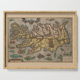 Antique Map Of Iceland 1603 Serving Tray