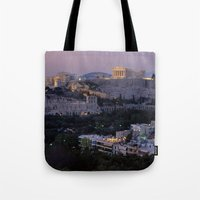 "greece Tote Bags featuring Greece by ""CVogiatzi."