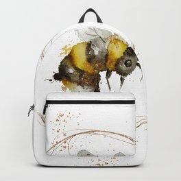 BEE Watercolour & Gold Cute Nursery Wall Art Print Backpack