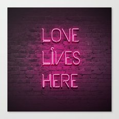 Love Lives Here (Magenta) Canvas Print