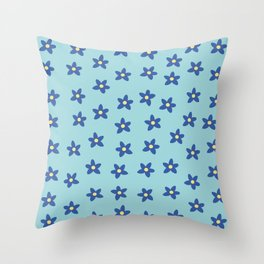 Blue Turquoise Floral Pattern Throw Pillow