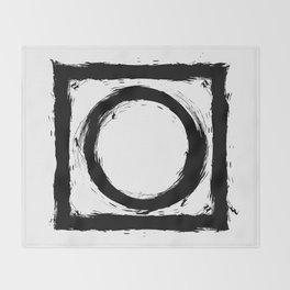 Black and white shapes splatter Throw Blanket