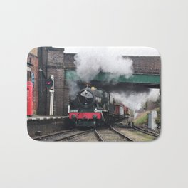 Vintage Steam Railway Train at the Station Bath Mat