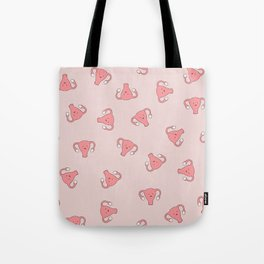 Crazy Happy Uterus in Pink, Large Tote Bag