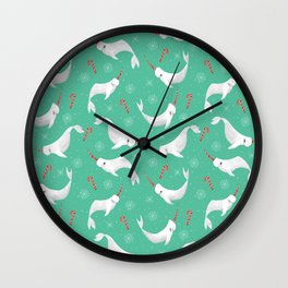 Candy Cane Narwhals 2020 version Wall Clock