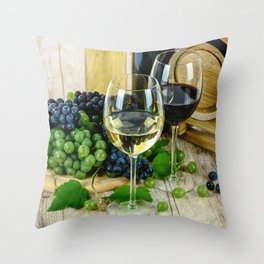 Glasses of Wine plus Grapes and Barrel Throw Pillow
