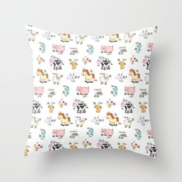 Farm Animals - Chinese/Pinyin Throw Pillow