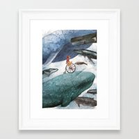 whales Framed Art Prints featuring Whales by Judith Chamizo