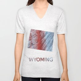 Wyoming map outline Red blue watercolor Unisex V-Neck