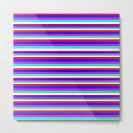 Colored Stripes - Fire Red Royal Blue Pink Mint White Metal Print
