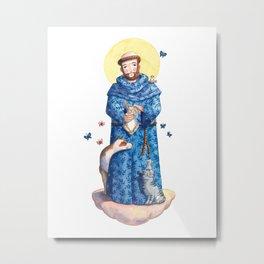 Saint Francis of Assisi / São Francisco de Assis (blue/azul) Metal Print