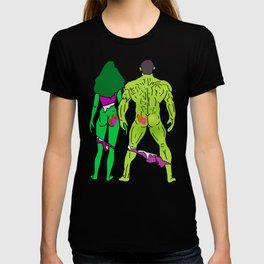 Superhero Butts Love 5 - Green T-shirt