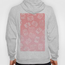Girly modern hand drawn cameras pattern on pink blush ombre Hoody