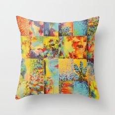 COLORFUL INDECISION 1 - Bold Bright Beautiful Abstract Acrylic Painting Collection Nature Rainbow Throw Pillow