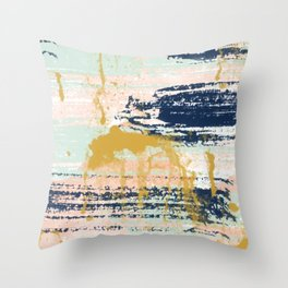 Blush, Gold, Navy, White, Mint Abstract  Throw Pillow