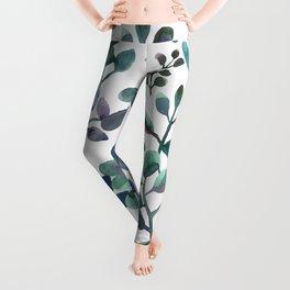 Jade and Succulent Watercolor Plant Pattern Leggings