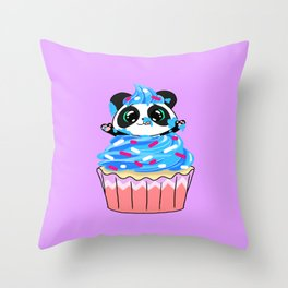 A Panda Popping out of a Cupcake Throw Pillow