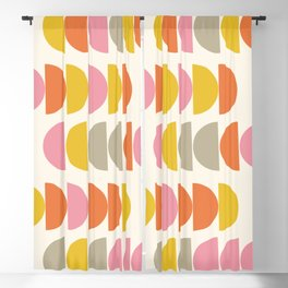 Cute Geometric Shapes Pattern in Pink Orange and Yellow Blackout Curtain