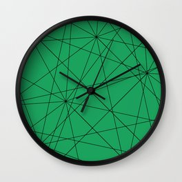 Fractal pattern of black intersecting lines on a lush green background. Wall Clock