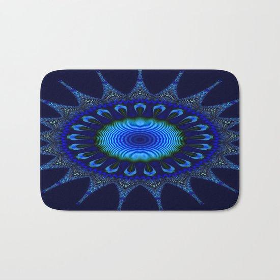 Blue kaleidoscope fractal star Bath Mat