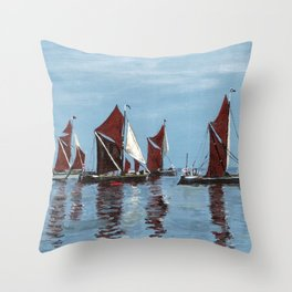 Thames barges Throw Pillow