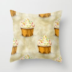 Cream cupcakes pattern Throw Pillow
