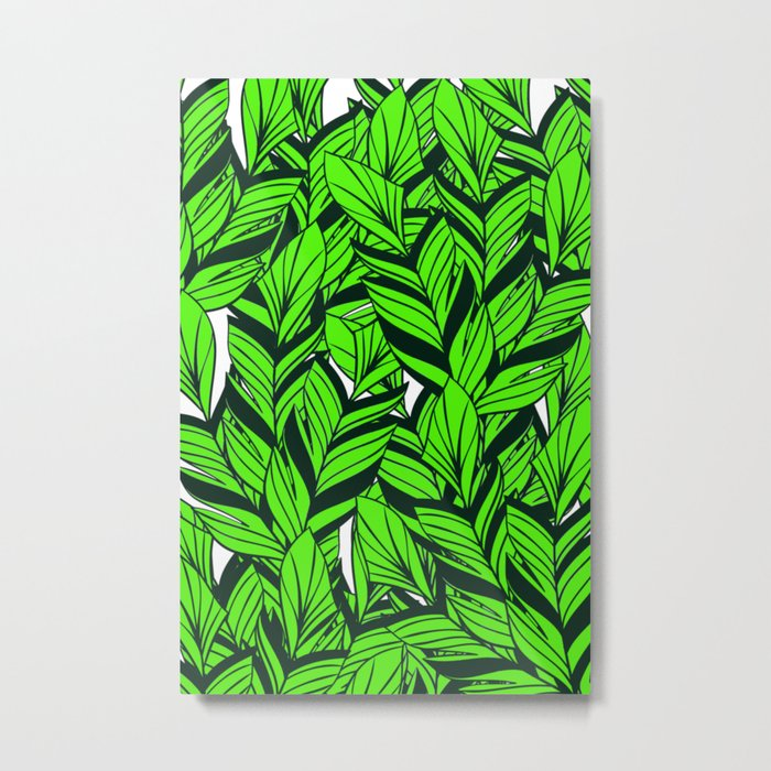 Jungle Banana Leaves Pattern Metal Print