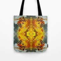 bees Tote Bags featuring bees by Abraham Cervantes