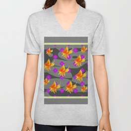 Decorative Gold Fish Modern Grey  Abstract Unisex V-Neck