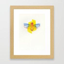 Be Safe - Save Bees linocut Framed Art Print